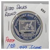 1oz .999 Silver Proof Wood Ducks Round