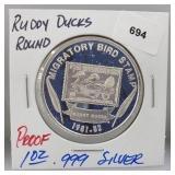 1oz .999 Silver Proof Ruddy Ducks Round