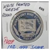 1oz .999 Silver Proof White Fronted Geese Round