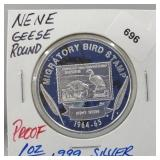 1oz .999 Silver Proof Nene Geese Round