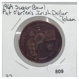 1969 Sugar Bowl Irish Dollar Token