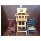 Doll Rocker, Chair & High Chair