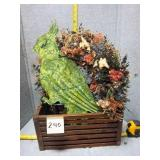 Dry Flower Wreath, Metal Parret, & Crate
