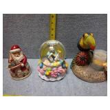 Snow Globe, Candle Holder & Santa