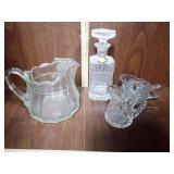 Pitcher, Creamers & Clear Decanter