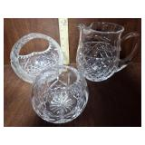 Glass Pitcher, Basket & Candle Holder