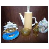 Tea Pots, Cup & Saucer, Amber Decorations