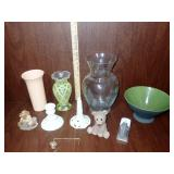 Vase, Pedistal Bowl, Purse Holder, Bear Figurines
