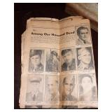 Kennedy Items, Pin Backs, Old Newspaper & more