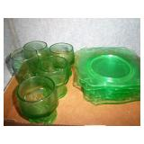 Green Depression Glassware