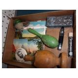 Old Post Cards, Wood Rattle, Wood Top & more