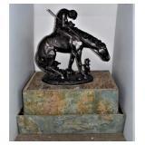 Indian Warrior on Horseback Fountain w/Pump - New