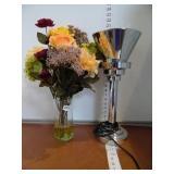 Desk Lamp & Flower Arrangement