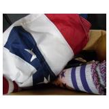 Red, White & Blue Table Cloth & Flag