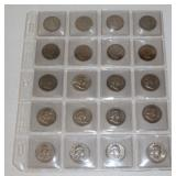 #195 Sheet of 20 Silver Franklin Half Dollars