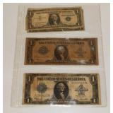 #216 Sheet of 5 Bills- 2 Large $1 Silver Certificates, etc.