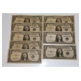 #217 Lot of (9) $1 Silver Certificates