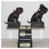 cast iron Bull Dog bank, Cigar 5c nickels bank