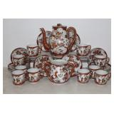 Japanese style floral china set