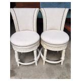 White swivel stools w/ high backs