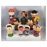 #850 Vintage Bobblehead lot of 9 incl. Japanese, Asian, etc.