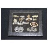 #800 Military insignias Lot Inc 10k gold pin 166 rainbow division  badge, medic badge in sterling +