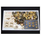 #813 large lot of military buttons and collar insignias officer and enlisted