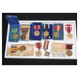 #815 WW1 and WW2 medals inc named USMC good conduct 1918-1922, Occupation Medals, and Italian Medal