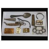 #817 Box lot with Nazi Political Belt bucke, Brass Knuckes
