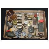 #857 Lot of Military Compasses and Artillery shell, etc.