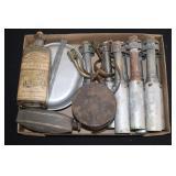 #860 WW2 smoke rifle Grenades, and spurs.