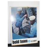 """#847 Dual Metal Sign """"Fly your own Jet""""""""Bold Team"""" Navy Recruiting Sign"""