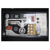 #822 German WW2 lot, Dagger DLV cross guard, NSDAP belt buckle, Spang second class, Nazi Money