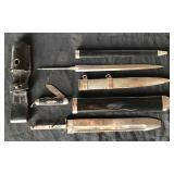 #835 WW2 Nazi German Dagger parts lot, red cross Hewer scabbard and blade