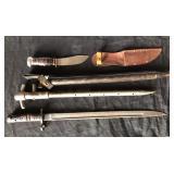#836 1917 Remington bayonet, Remington boy scout side knife, etc.