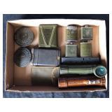 #859 US WW2 flashlights, Rifle bore cleaner, etc.