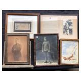 #898 Lot of 5 framed Photos, incl WW1 Portrait