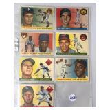 #258 1955 Topps lot of (7) HOF & Stars - mixed Condition - Mathews, Kaline, Banks, Zimmer