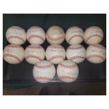 (12) signed Hof balls incl. Mantle, B. Robinson, Yogi, Catfish Hunter, Palmer, Stargell etc