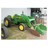 Lot# 601 John Deere Model 430 WF restored tractor w/ loader