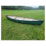 #618 Water Queen 14 Light Fiberglass Canoe w/ 3 seats,  cup holders, etc.