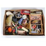 """#155 Fishing Bait and Tackle lot incl. Silver Demon, """"66"""" Lure in box, etc."""