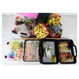 #207 Fishing bobbers, fly fishing bait in boxes, etc.