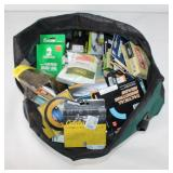#216 Fishing bag full of misc. wire, line, Tactical Shooting Heads, etc.