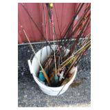 #190 Ice Fishing Bucket full of rods, reels, lures, etc. #4