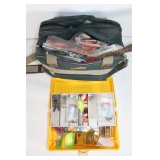 #217 Misc. Fishing Bag & Yellow Tackle box w/ weights, etc.