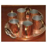 #2510 Revereware Copper tray w/ mugs - Pretzel handels