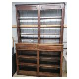 #2522 Elegant English Walnut Open Front Step Back Cupboard w/ drawers- Approx. 8x5.5ft