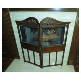 #2552 Walnut Fireplace Screen with bevel glass windows