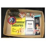 #2507 Intresting collectables lot incl. Tigers pin, Pinochio, Transisitor battery sign, ect